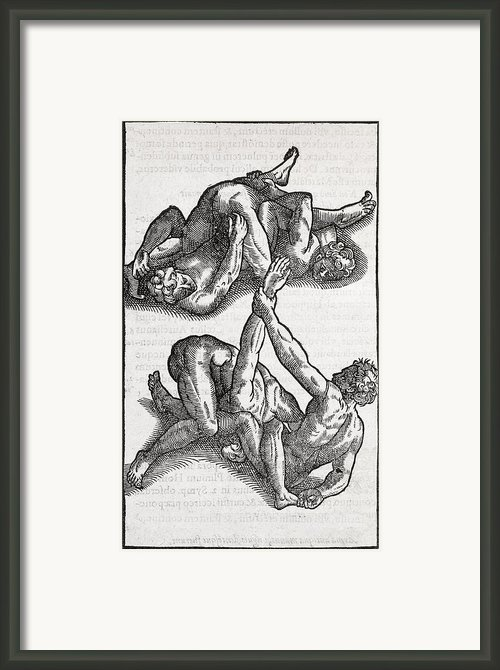 Wrestling Moves, 16th Century Artwork Framed Print By Middle Temple Library