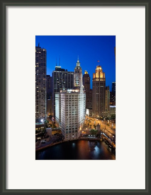 Wrigley Building Night Framed Print By Steve Gadomski