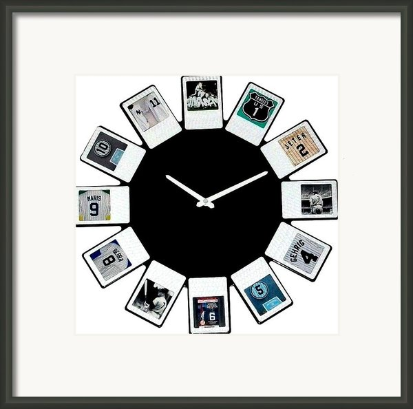 Yankees Clock Framed Print By Paul Van Scott