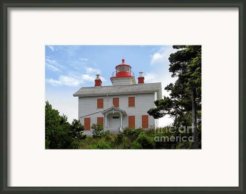 Yaquina Lighthouses - Yaquina Bay Lighthouse Oregon Framed Print By Christine Till