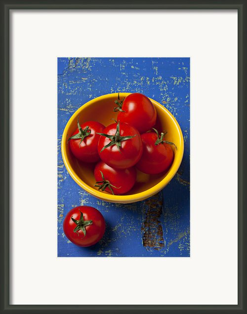 Yellow Bowl Of Tomatoes  Framed Print By Garry Gay