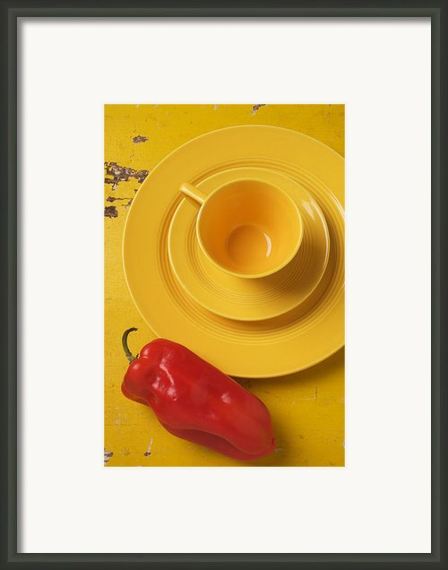 Yellow Cup And Plate Framed Print By Garry Gay