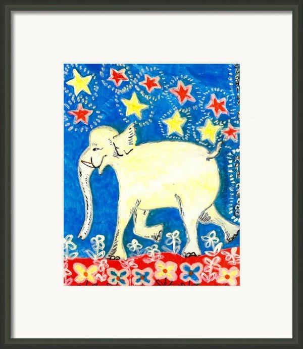 Yellow Elephant Facing Left Framed Print By Sushila Burgess