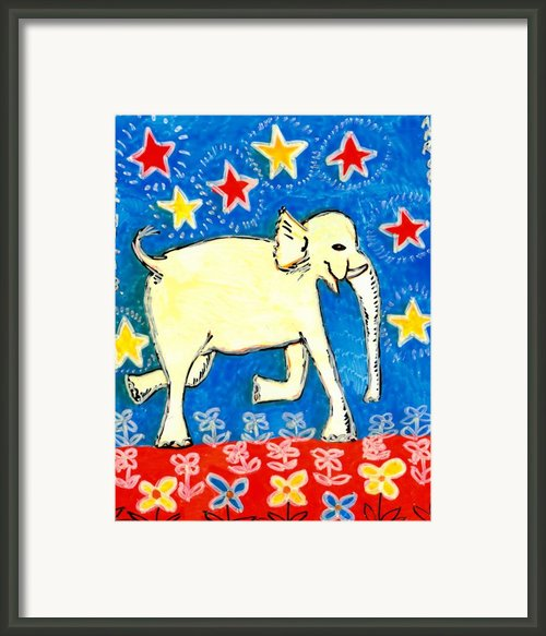 Yellow Elephant Facing Right Framed Print By Sushila Burgess