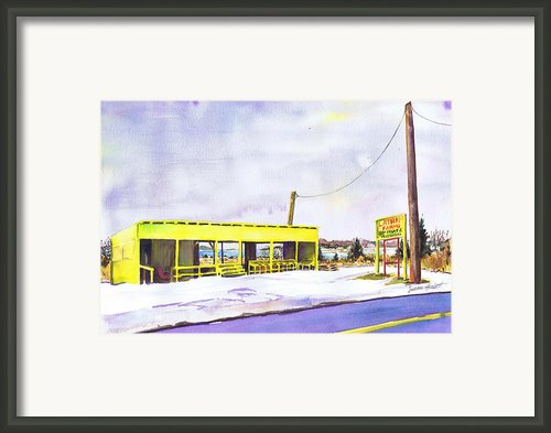 Yellow Farm Stand Winter Orient Harbor Ny Framed Print By Susan Herbst
