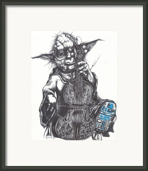 Yoda Soothes Baby R2 With The Charm Of His Homegrown Cello Framed Print By Iosua Tai Taeoalii