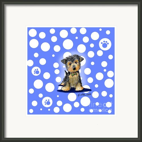 Yorkie Boy On Blue Framed Print By Kim Niles