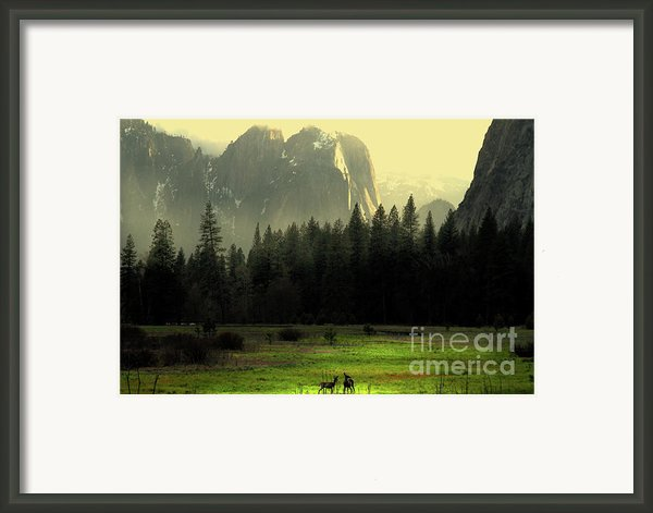 Yosemite Village Golden Framed Print By Wingsdomain Art And Photography