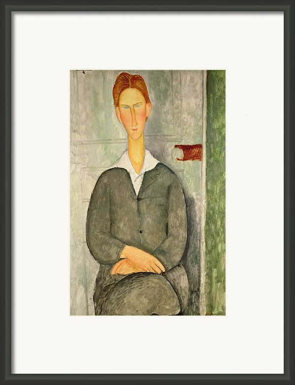 Young Boy With Red Hair Framed Print By Amedeo Modigliani