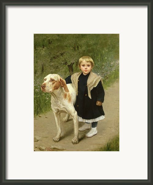 Young Child And A Big Dog Framed Print By Luigi Toro