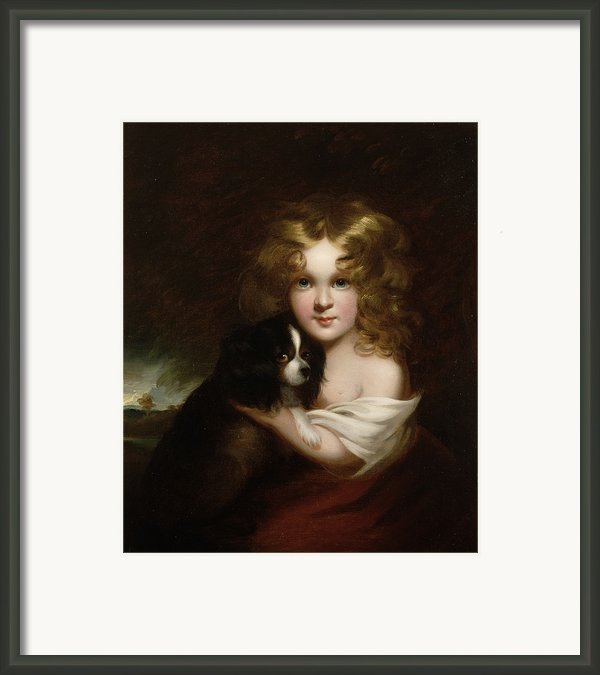 Young Girl With A Dog Framed Print By Margaret Sarah Carpenter