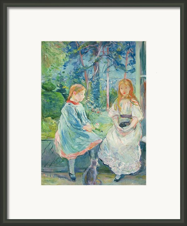 Young Girls At The Window Framed Print By Berthe Morisot