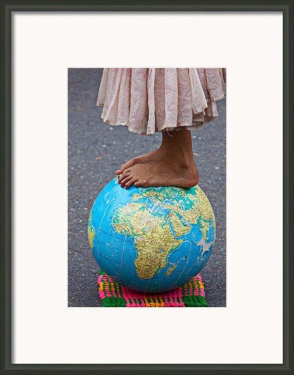 Young Woman Standing On Globe Framed Print By Garry Gay