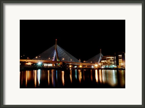 Zakim Over The Charles River Framed Print By Richard Bramante