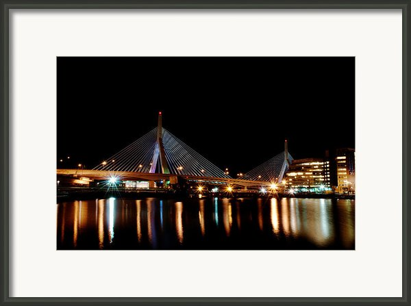 Zakim Over The Charles River Framed Print By Richard Bramante