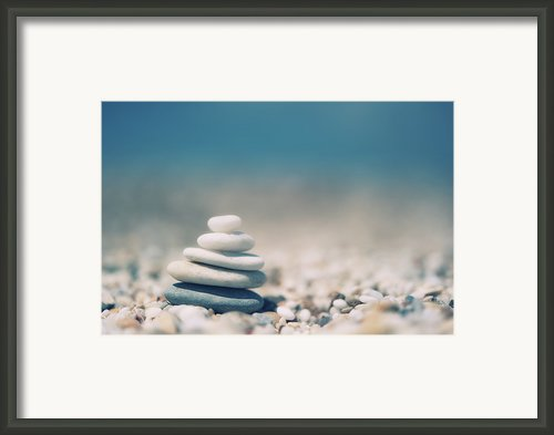 Zen Balanced Pebbles At Beach Framed Print By Alexandre Fundone