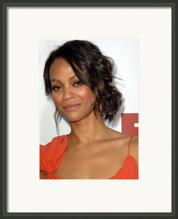 Zoe Saldana At Arrivals For Death At A Framed Print By Everett