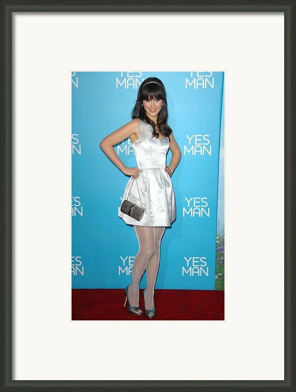Zooey Deschanel Wearing An Erin Framed Print By Everett