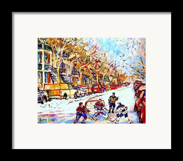 Hockey Game On Colonial Street  Near Roy Montreal City Scene Framed Print By Carole Spandau