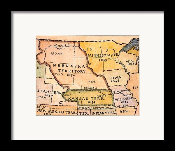 Kansas-nebraska Map, 1854 Framed Print By Granger