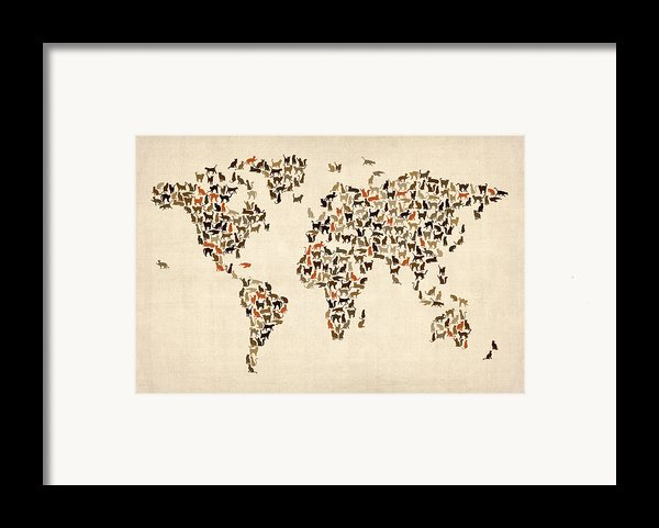 Cats Map Of The World Map Framed Print By Michael Tompsett