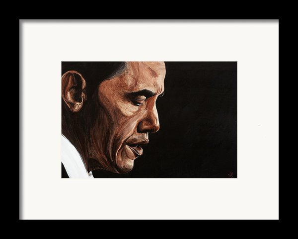 President Barack Obama Portrait Framed Print By Patty Vicknair