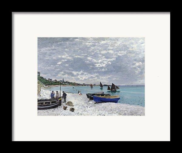 The Beach At Sainte Adresse Framed Print By Claude Monet