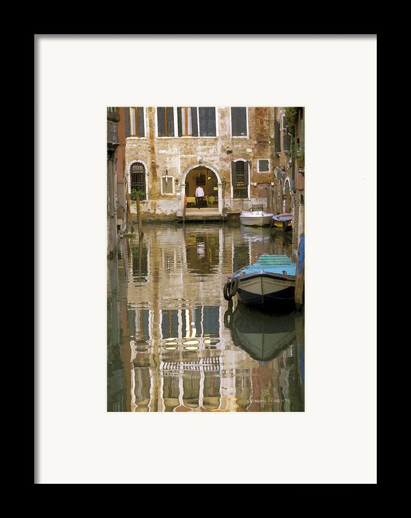 Venice Restaurant On A Canal  Framed Print By Gordon Wood