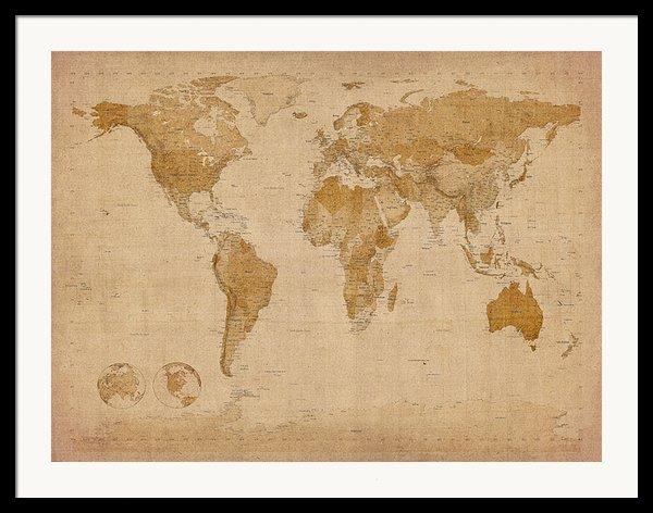 World Map Antique Style Framed Print By Michael Tompsett