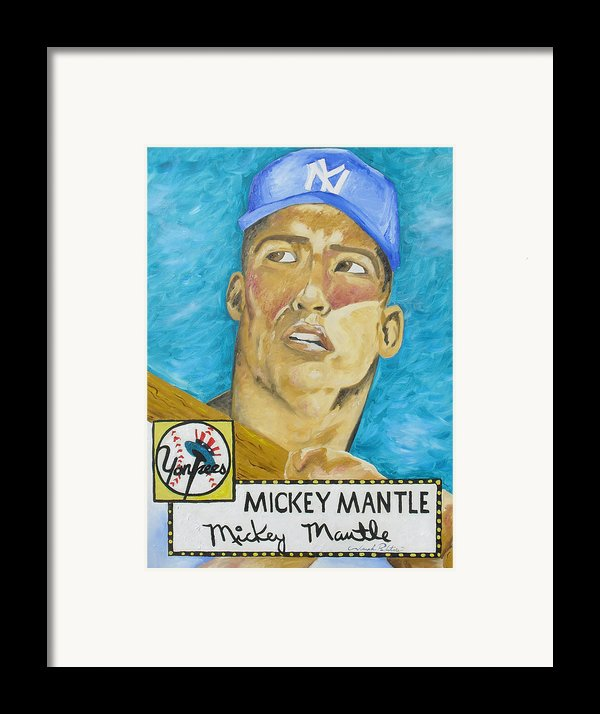 1952 Mickey Mantle Rookie Card Original Painting Framed Print By Joseph Palotas