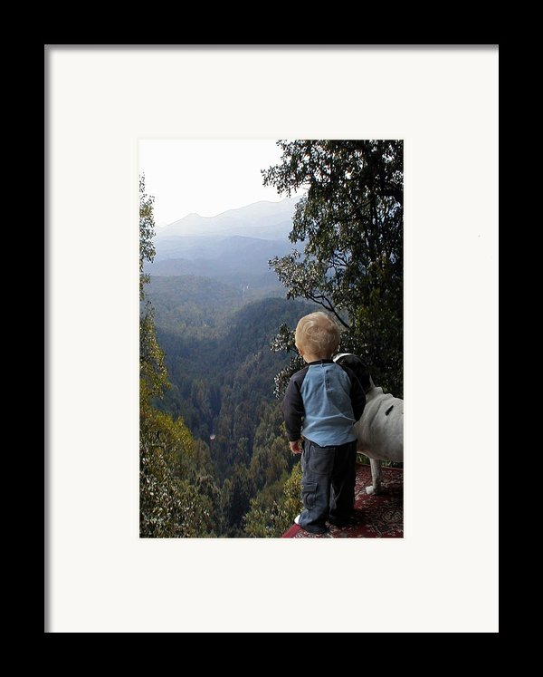 A Boy And His Dog Framed Print By Robert Meanor