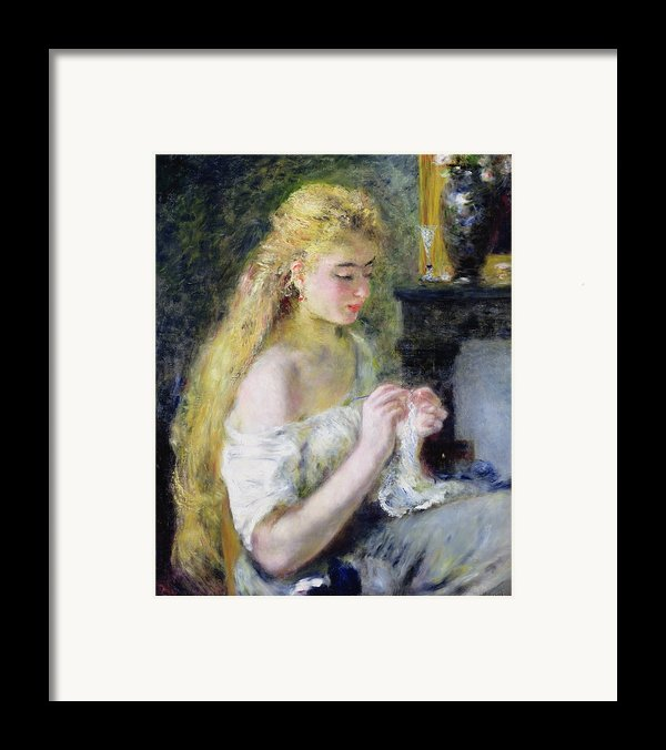 A Girl Crocheting Framed Print By Pierre Auguste Renoir