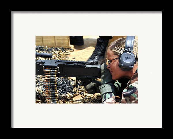 A Soldier Fires An M240b Medium Machine Framed Print By Stocktrek Images
