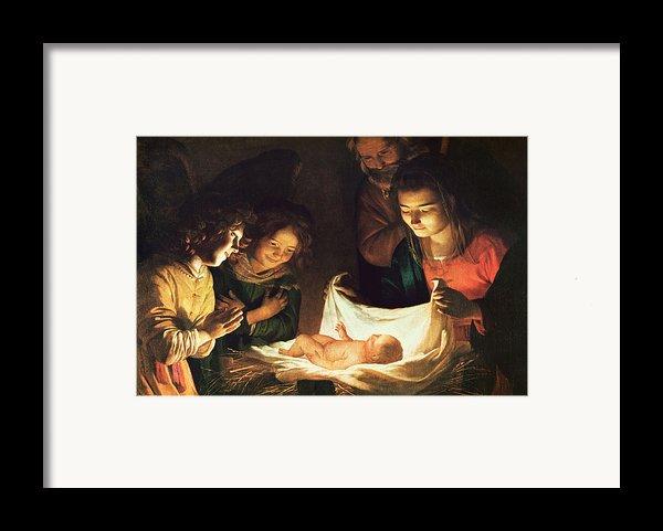 Adoration Of The Baby Framed Print By Gerrit Van Honthorst