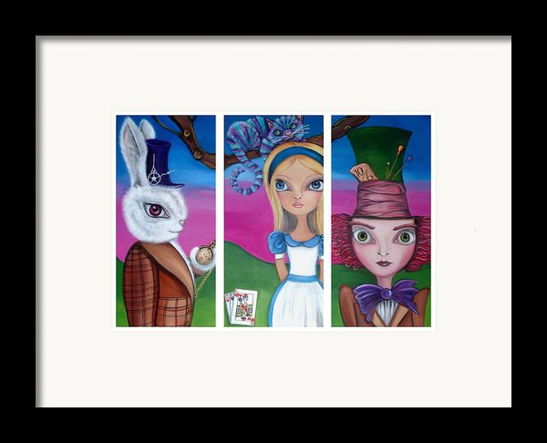 Alice In Wonderland Inspired Triptych Framed Print By Jaz Higgins