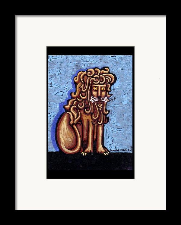 Baby Blue Byzantine Lion Framed Print By Genevieve Esson