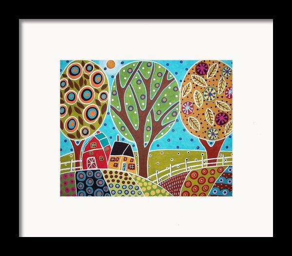 Barn Trees And Garden Framed Print By Karla Gerard