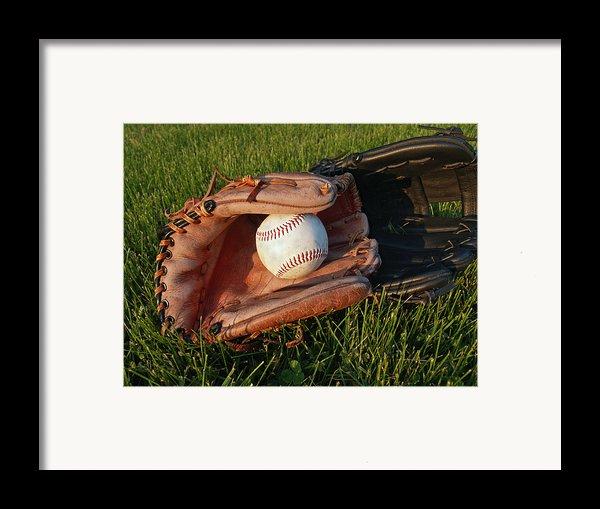 Baseball Gloves After The Game Framed Print By Anna Lisa Yoder