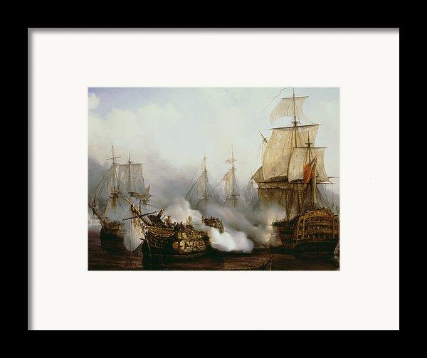 Battle Of Trafalgar Framed Print By Louis Philippe Crepin