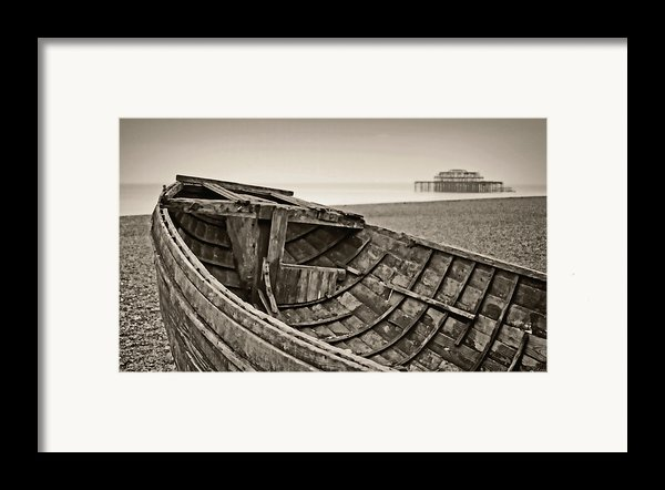 Beached At Brighton In Sepia Framed Print By Tony Grider