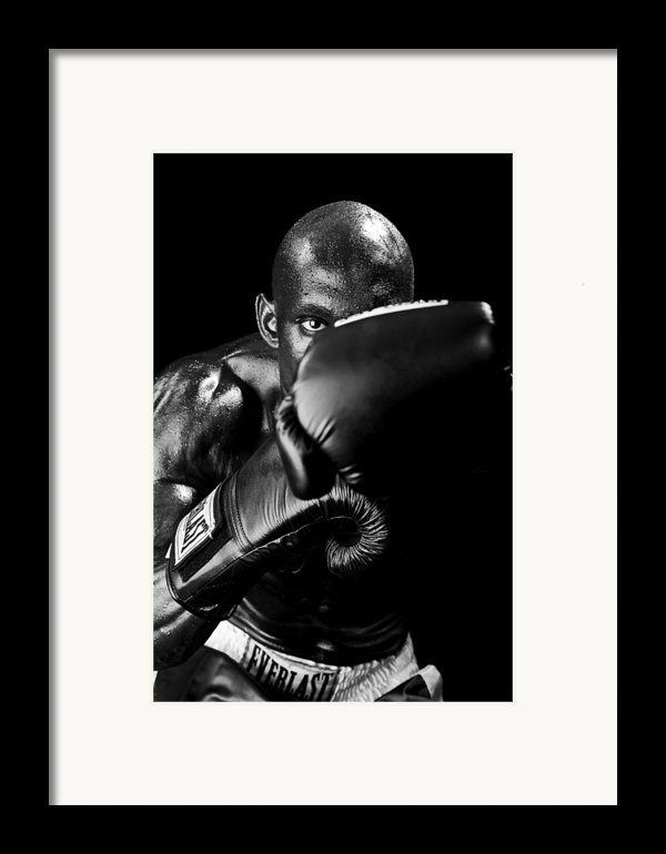 Black Boxer In Black And White 04 Framed Print By Val Black Russian Tourchin