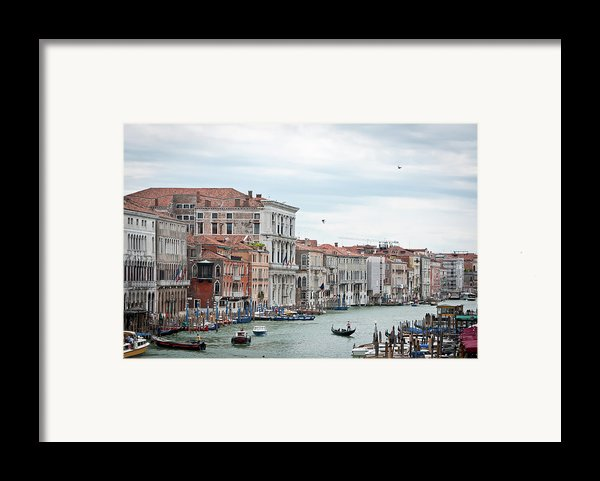 Boats And Gondolas In Grand Canal Framed Print By Alexandrar