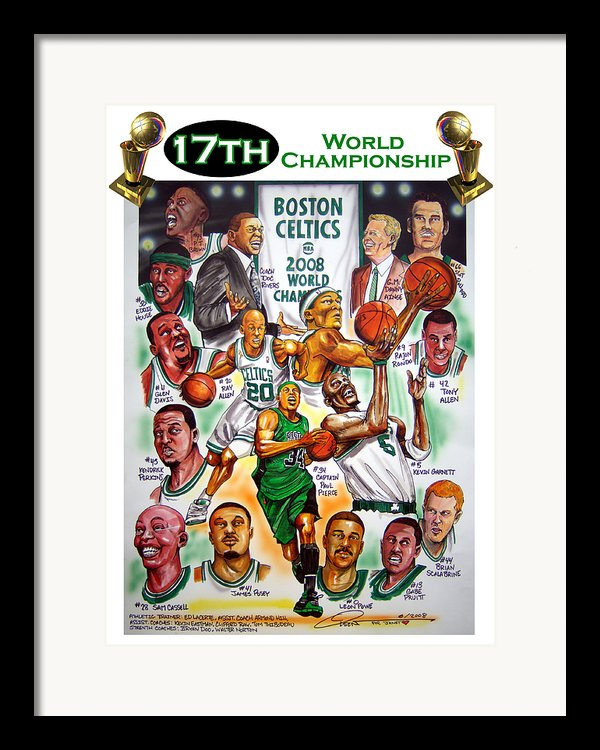 Boston Celtics World Championship Newspaper Poster Framed Print By Dave Olsen