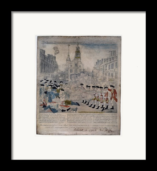 Boston Massacre.  British Troops Shoot Framed Print By Everett