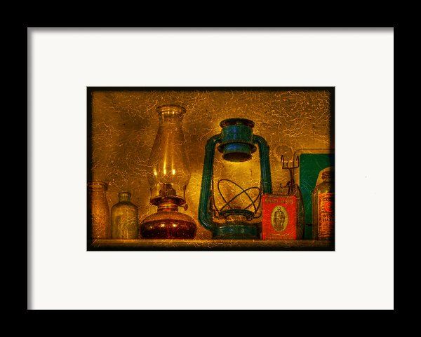 Bottles And Lamps Framed Print By Evelina Kremsdorf