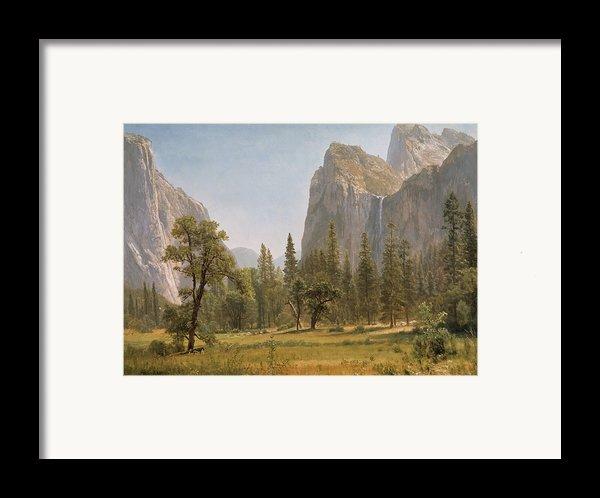 Bridal Veil Falls Yosemite Valley California Framed Print By Albert Bierstadt