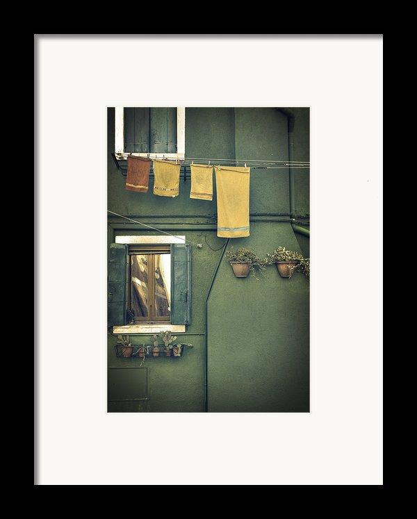 Burano - Green House Framed Print By Joana Kruse