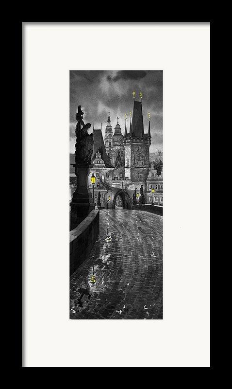 Bw Prague Charles Bridge 03 Framed Print By Yuriy  Shevchuk