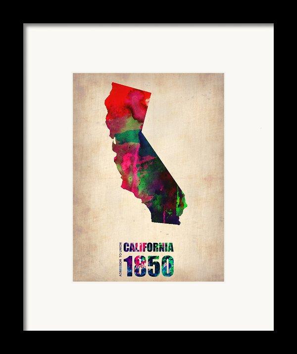 California Watercolor Map Framed Print By Naxart Studio
