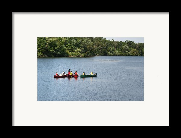 Canoes On Lake Framed Print By Blink Images